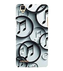 Fiobs Designer Back Case Cover for Oppo F1 :: A35 (Music Symbol)
