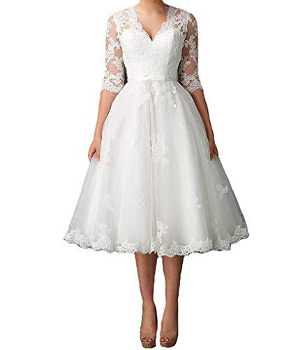 Dresses Onlie Damen A-Linie V-Ausschnitt Hochzeitskleider Teelänge Elegant Spitze Brautkleider mit...