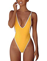 c56f67aec5770 Bigoing Women's Sexy High Cut One Piece Plunging Neckline Swimsuit Deep V  Neck Cheeky Thong Monokini Backless Swimwear with…