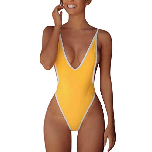 Bfmyxgs Sexy One Piece Frauen Stilvolle Monokini Badeanzug Mode V-Ausschnitt Tanga Bikini Charmante Badebekleidung Baden Beachwear Monokini Bademode Sets Badeanzug Beachwear Tankini Sets - Zara Bademode