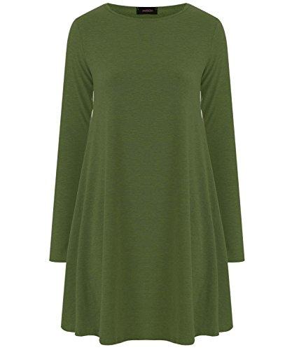 Fashion 4 Less - Robe - Swing - Manches Longues - Femme Vert - Kaki