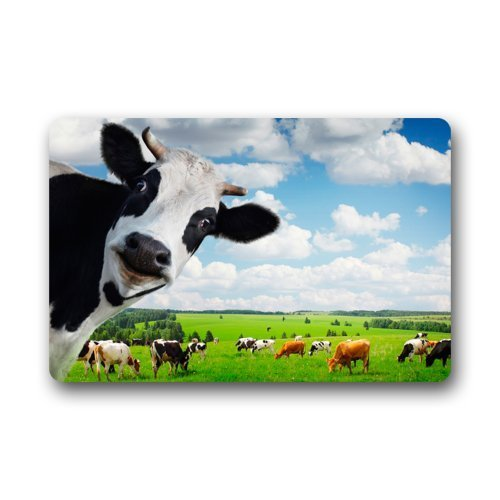 Funny Kuh Tier Dairy Cattle Farm die Sauberlaufmatten Entrance Mat Fußmatte Fußmatte Teppich Indoor/Outdoor/Front/Badezimmer Fußmatten Gummi rutschfeste (59,9 x 39,9 cm L x W)