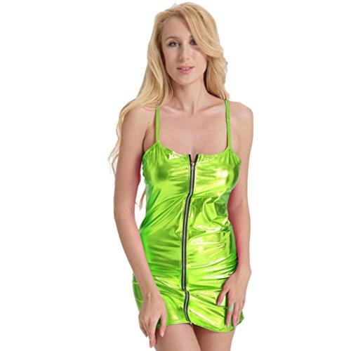 YunYoud Mode Women Sleeveless Dress Tight-fitting Leather Clubwear Solid Color Strapsen Reißverschluss Verbunden Reizvoller Pyjamas (Freie Größe, Gelb)