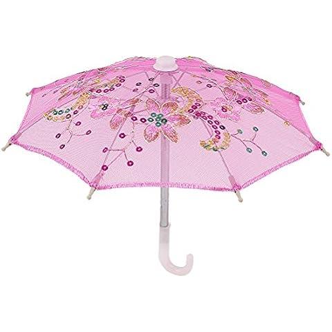 Boda A Mano Lentejuelas Deco Encaje De Algodón Mini Paraguas Parasol Rosa