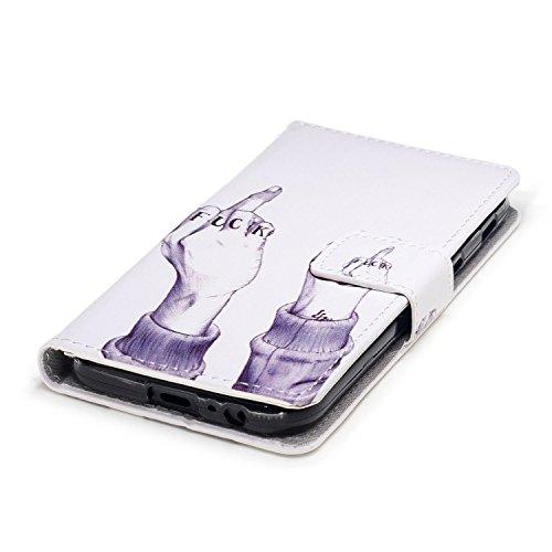 Linvei Samsung Galaxy A5(2017) Etui Cuir Coque,[Conception de motif coloré][PU Cuir Housse][Portefeuille Flip][Stand soutien/Card Slot /fermeture magnétique]-Plante tropicale verte Geste drôle