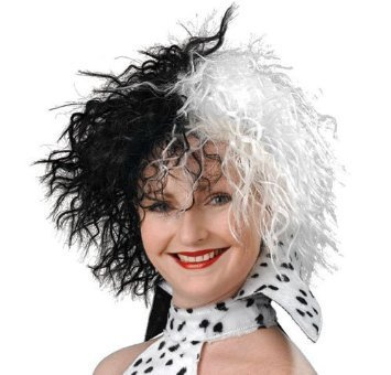 Kostüm Fancy Dress Dalmation - Cruella De Ville Wig 101 Dalmations Halloween Fancy Dress by Home & Leisure Online