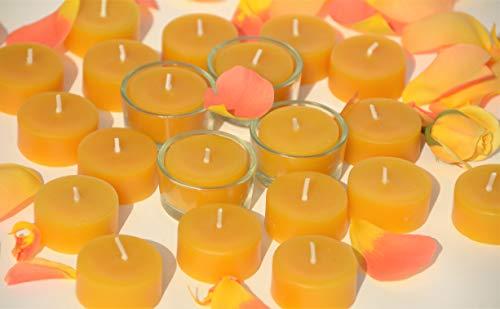Figura Santa 20 Teelichte aus zertifiziertem Bienenwachs mit 4 Gläschen zum Nachfüllen. Ökologisches Vorratsset.