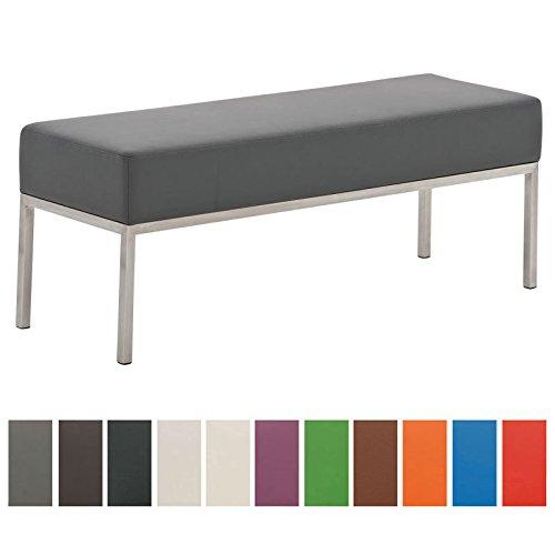 CLP 3er Edelstahl Sitzbank LAMEGA, 120 x 40 cm, geposltert, Kunst-Leder Bank modern für Esszimmer, Küche, Flur, Gastro grau