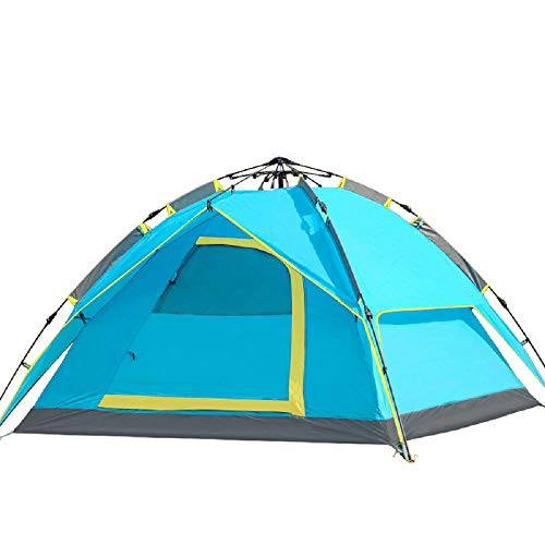 DDSGG Vollautomatisches Campingzelt Sofortiges Aufspringen Wasserdichtes, Atmungsaktives Familien-UV-Wigwam Für 3-4 Personen,Blue