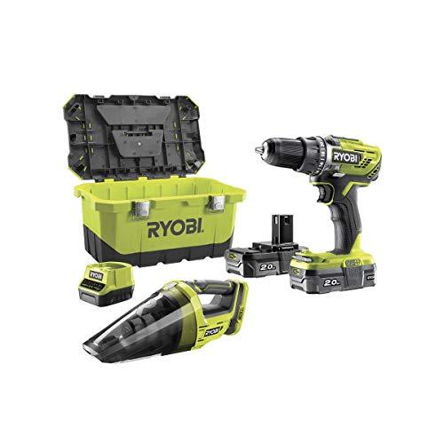 Akkuschrauber Ryobi 18 V OnePlus R18DD3-200 – Werkstattstaubsauger Ryobi CHV182M – 2 LithiumPlus Akkus 2,0 Ah – Schnellladegerät 2,0 Ah R18DD3-220VT