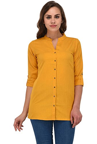 Pistaa women's Black Solid Cotton Short Top Kurti (Mustard Yellow, 40 -...