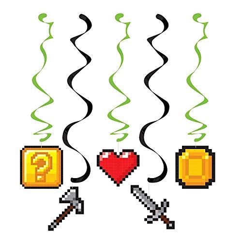 Neu: 5 Deko-Wirbel * Game ON * für Kindergeburtstag und Motto-Party | LAN Gaming Zocker Zocken Spielen Konsole Pixel Mottoparty Motto Party Kindergeburtstag Kinder Geburtstag Decken Dekoration Swirl