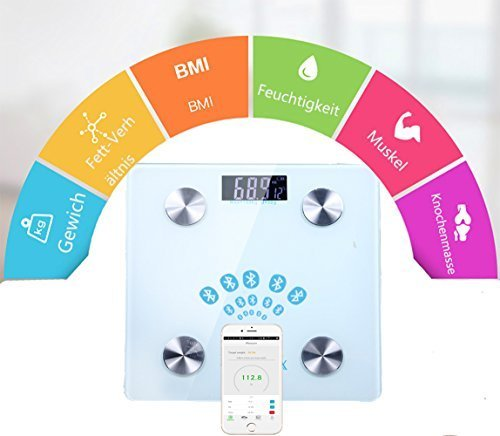 Body Fat Analyzer Scale (Digitalwaage Personenwaage, Körperanalysewaage mit Bluetooth /Web Connect Smart Scale/Digitale Personenwaage/Körperfettwaage für Gewicht, Körperfett, Wasseranteil, Muskelanteil, Knochenmasse, BMI Werte, etc. Gratis App: RENPHO für iOS und Android, max. 180kg)
