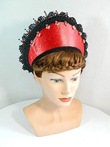French Hood rot schwarz Satin Attifet Stuarthaube Haube Tudor Mittelalter Kokoshnik Prinzessin Anne Boleyn