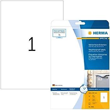 Polyester Folienetiketten A4 Bogen 90 x 65 mm weiß 8 Stk. selbstklebend