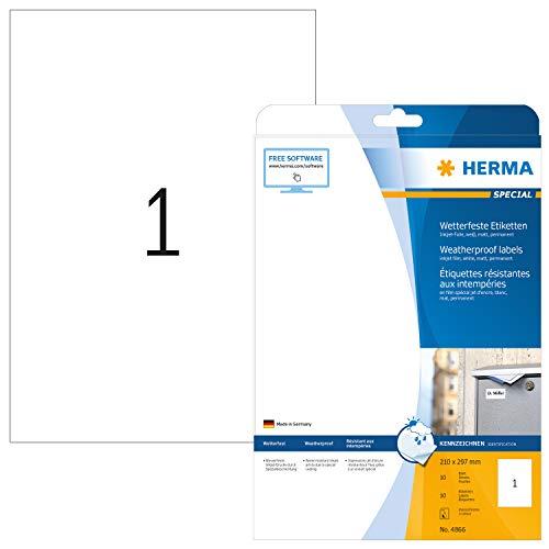 HERMA 4866 Wetterfeste Folien-Etiketten für Tintenstrahldrucker DIN A4 (210 x 297 mm, 10 Blatt, Folie, matt) selbstklebend, bedruckbar, permanent haftende Inkjet Aufkleber, 10 Klebeetiketten, weiß
