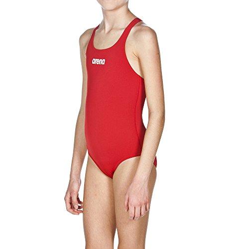 Arena G Jr Bañador Deportivo Niña Solid Swim Pro, Niñas, Red-White, 10-11