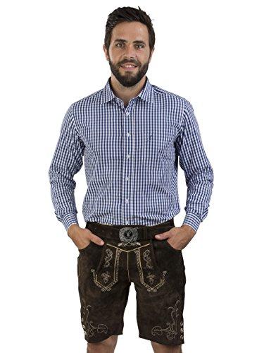 Herren Lederhose Wiesntracht mit Trachtengürtel - Herren Trachtenlederhose Oktoberfest mit Gürtel - Trachtenhose Lederhosen kurz (48, dunkelbraun)