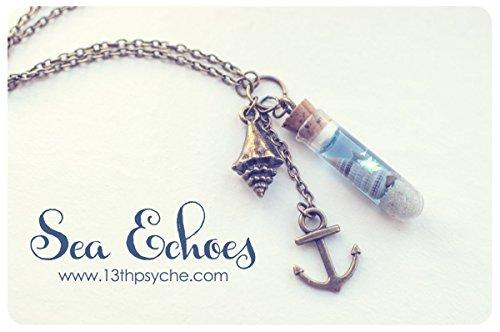 alskette. Schale in einer Flasche Halskette. Fläschchen-Halskette mit Muscheln Meer Flasche, Geschenke für Frauen, nautische Halskette romantisch (Nautische Halskette)