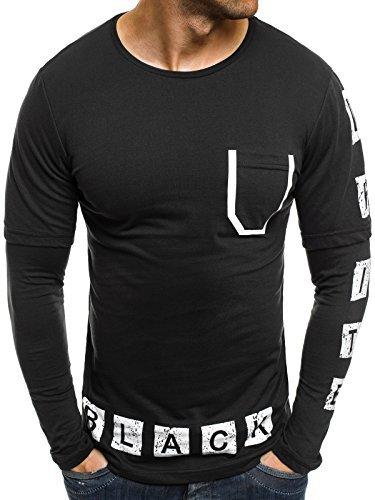 OZONEE Herren Longsleeve mit Motiv Langarmshirt Rundhals Figurbetont Shirt BLACK WHITE 1138 Schwarz
