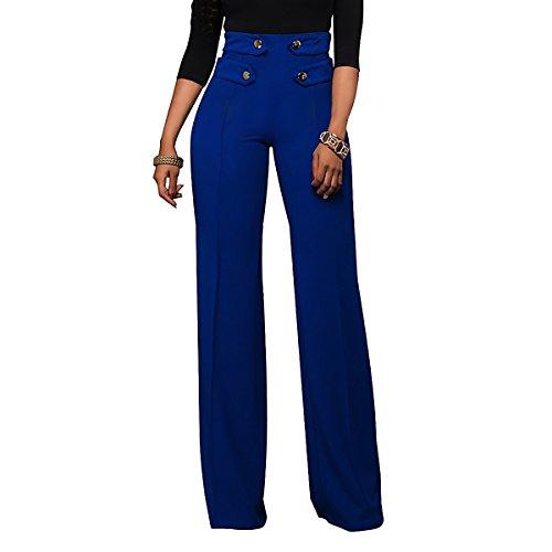 Damen Breites Bein Lange Hosen Mit Kn?pfen Arbeitsbekleidung Hosen Hohe Taille Hosen (Mit Hoher Taille Bein Jean Breite)