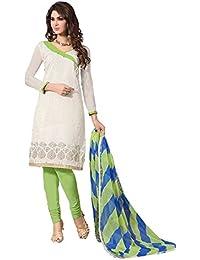 Jheenu Woman's off white Printed Chanderi Unstiched Salwar suit dress materials
