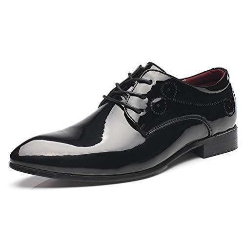 Qianliuk Formale Schuhe Männer Plus Size Lackleder Schnürschuhe Spitz Sozialamt Mode Klassische Hochzeit Erwachsene Männer Kleid Schuhe