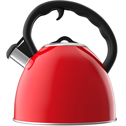 Vremi Whistling Tea Kettle - 1.9 Liter Stainless Steel Kettles with Heat Resistant Handle for Induction Electric or Gas Stovetop - Airtight Lid Keeps Water and Tea Temperature Hot (red)