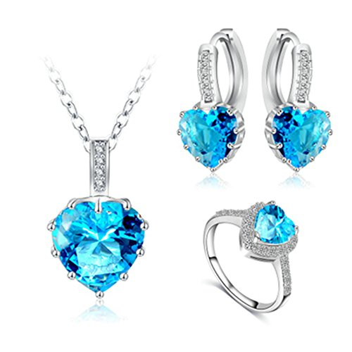 Daesar Collier Argent Plaqué Boucles D'Oreilles Bague Ensemble de Bijoux Femme Zircon Coeur Bleu Clair Bague Taille 56.5
