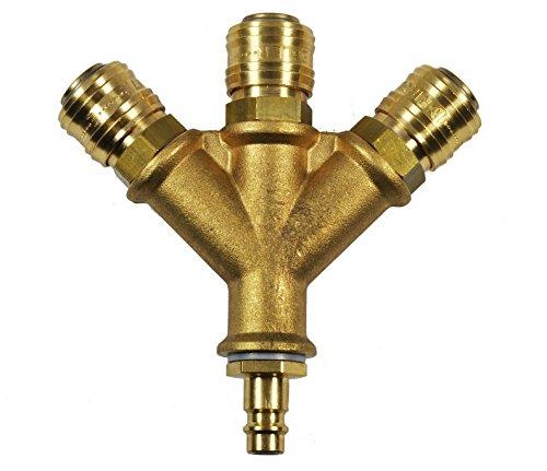 Druckluft Verteiler Luftverteiler Luftweiche 3-fach mit Kupplungen 1/2