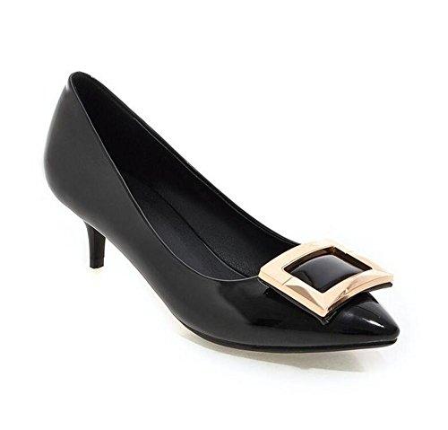 Point punta quadrata fibbia scarpette di vernice in pelle basso per aiutare Scarpe Donna black