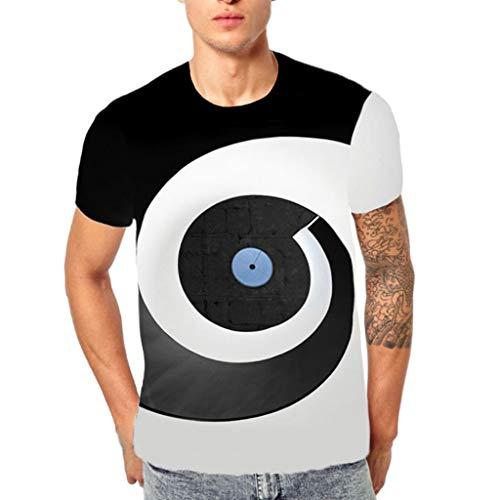 EUCoo Uomo T Shirt con Stampa 3D Flood a Maniche Corte Moda Tempo Libero Strano Interessante Camicia Manica Corta Tops(Nero,XX-Large)