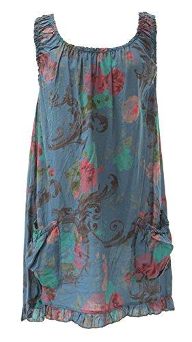 Mesdames Womens italien Lagenlook excentrique superposition robe tunique imprimé Floral sans manches poches unique Taille Plus Denim Bleu