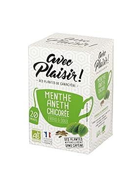 """avec Plaisir! - Infusions Bio : Menthe, Aneth, Chicorée - Lot de 2 x 20 sachets tisanes - Sensation """"Frais et Doux"""" - sans caféine"""