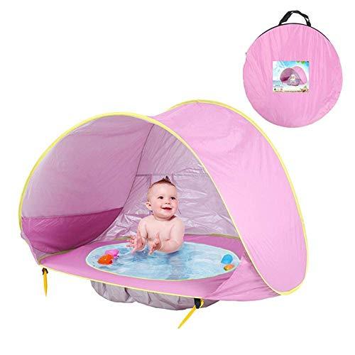 AOOPOO Baby Strandzelt, Pop-up Baby Strand Zelt Mit Pool Portable Shade Pool UV-Schutz 50+ Sun Shelter, Für Familiengarten Camping Picknick Angelzeiten (Rosa)