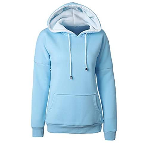 European Womens Hoodies Long Sleeve Hooded Ladies Sweatshirt Loose Women Tracksuits Tops Coat (XL, Sky Blue)