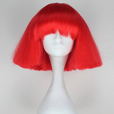 HJL-lady gaga Stil deckellose Art und Weise kurze verworrene gerade rote Farbe Frauen synthetische Parteiperücke