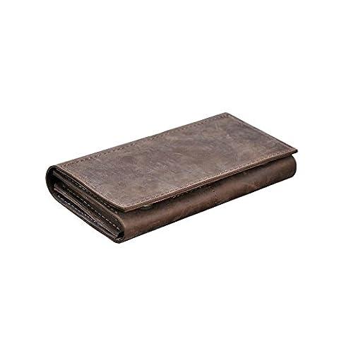 Portefeuille en cuir grand pour les hommes. Portefeuille en cuir véritable fait à la main. Étui de voyage marron