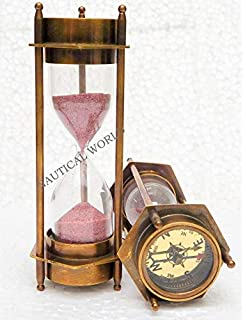 Minuteur de sable en laiton massif maritime marin antique vintage en laiton 1 min
