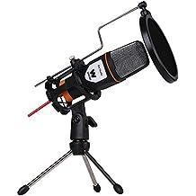 WOXTER Mic Studio Black - Micrófono condensador profesional para ordenador , grabar, jugar, conversar o cantar por internet ( Entrada: 3.5mm, trípode ajustable en inclinación vertical y horizontal, color negro