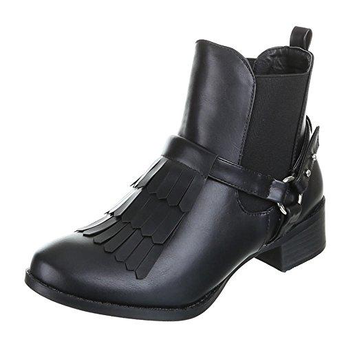 Damen Schuhe, MY10073A, STIEFELETTEN BOOTS Schwarz