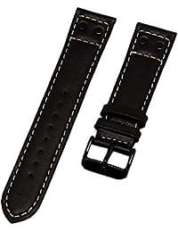 Reloj De Pulsera Swiss Military piel marrón con costura blanca 22mm Nuevo 8673