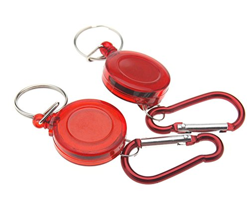 Preisvergleich Produktbild Einziehbarer Schlüsselanhänger, Rücklauf, Marke, Ausweishalter, Ski-Pass, 2 Stück, neu, rot