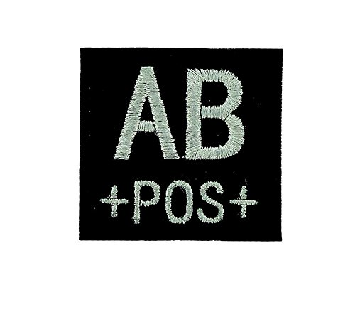 Patch ecusson brodé airsoft tactical militaire groupe sanguin thermocollant noir - AB+