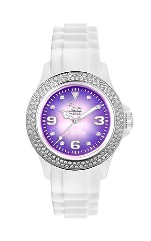ICE-Watch - Montre Mixte - Quartz Analogique - Ice-Pink & Ice-Purple - White - purple shine - Unisex - Cadran Violet - Bracelet Silicone Blanc - IPE.ST.WSH.U.S.12