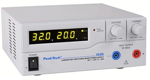 Preisvergleich Produktbild PeakTech High-Power /Hochstrom Labornetzgerät - DC 1 - 32V / 0 - 20A mit analoger Fernsteuerung, 1 Stück, P 1535