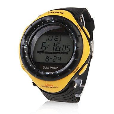 Belles montres, Montre à Energie Solaire, Etanche, Unisexe, Avec Chronographe, Alarme et Lumière - Jaune ( Couleur : Noir , Taille : Taille Unique )