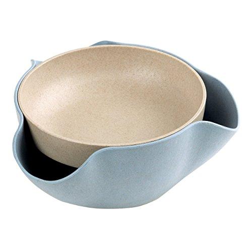 Doppel-holz-raucher (Doppel-Schicht Obst & Kurz Snack Bowls, Multifunktionale Haushalt Getrocknete Obst Lagerung Tray, Nuts-Lagerung Gerichte für Pistazien, Kirschen, Erdnüsse, Süßigkeiten - Blau)