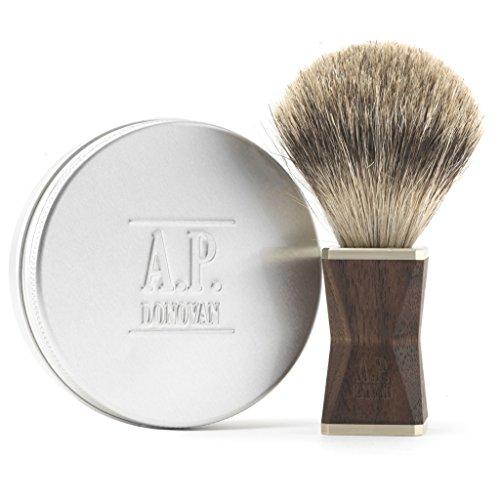 A.P. Donovan - Brosse à raser les cheveux et le bois Badger   Brosse pure blaireau et savon à barbe plante 100 g - Dexter Nussbaum