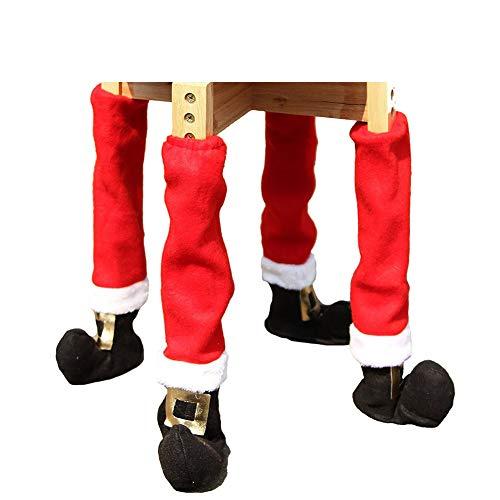 BAIVIT 4 Stücke Weihnachten Tisch Bein Socken Tischbeine Gesetzt Tischbeine Stuhl Bein Abdeckung Dekorative Vlies Weihnachtsmann Weihnachten Neujahr Party (Stuhl Bein Abdeckungen)